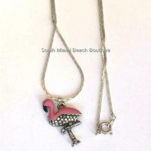 "Jewelry - Silver Pink Flamingo Necklace 18"" Crystal Island"